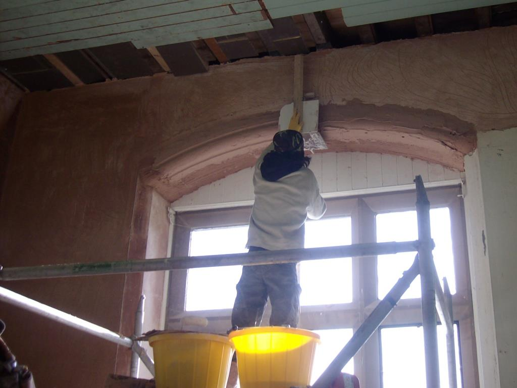 Photo - In situ restoration of plasterwork window arch at Grade 1 listed Stonyhurst College, Lancashire